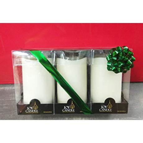 Set 3pcs Aroma Led Pillar Candle Smooth Ivory 13cm