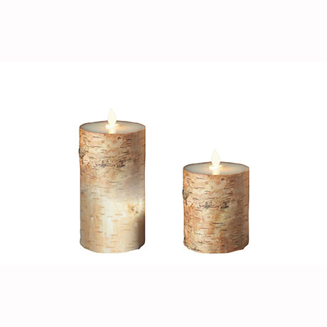 Set Aroma Led Pillar Candle Birch Bark 13cm & 18cm