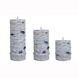 Aroma Led Pillar Candle Hand Carved Birch 13cm
