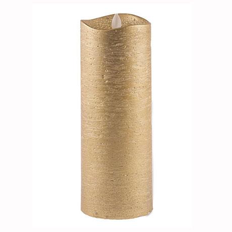 Χειροποίητο Κερί Κορμός Led Χρυσό 23cm