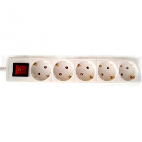 Multi-socket 5 plugs With switch White