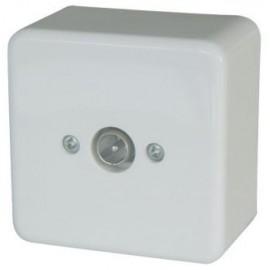 TV Socket Coaxial Wall mounted Mini Line White